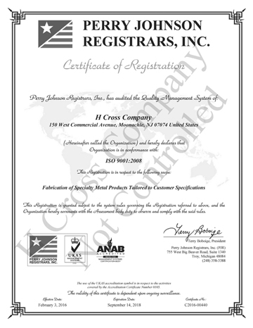 H Cross Company Final Certificate ISO 9001:2008