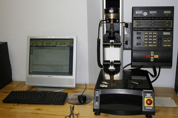H. Cross Company Small Tensile Tester setup
