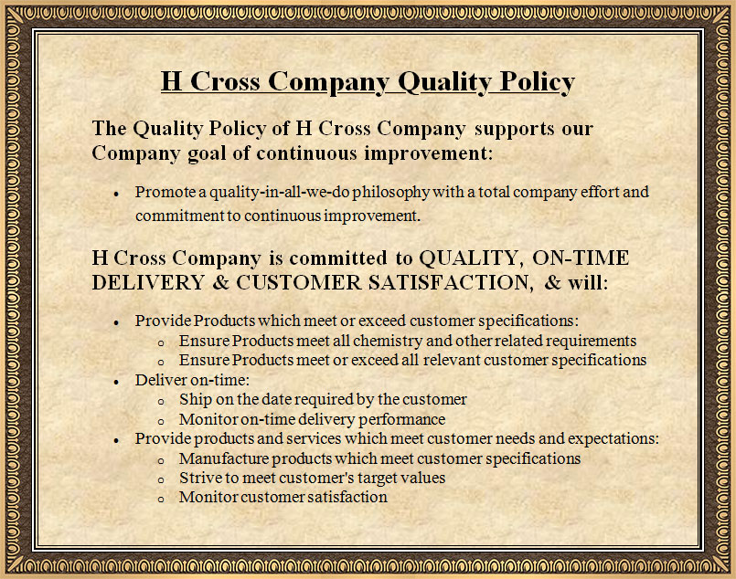H Cross Company ISO 9001 Quality Policy
